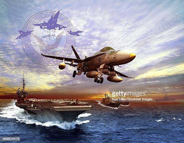f/a-18 hornet taking off of a u.s. navy aircraft carrier. - fa 18 hornet stock illustrations