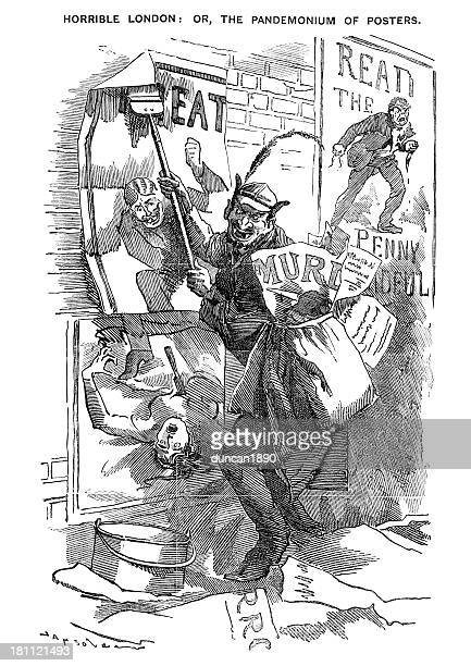 horrible london - pandemonium of posters - jack the ripper stock illustrations