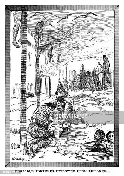 horrible tortures inflicted upon prisoners by the babylonian guards - ancient babylon stock illustrations