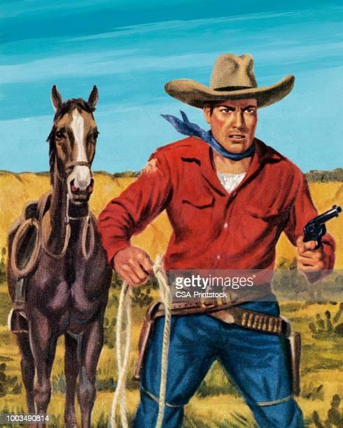 stockillustraties, clipart, cartoons en iconen met paard en een cowboy - cowboy