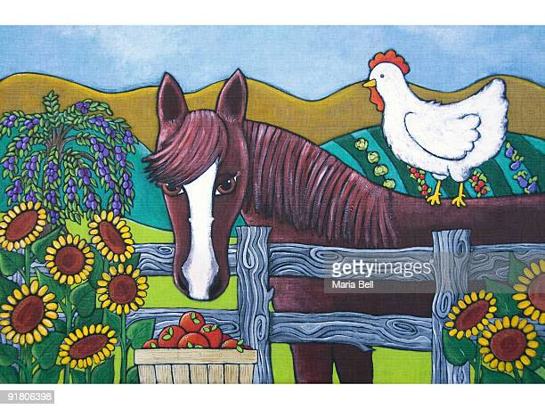 a horse and chicken on a farm in the country - paddock stock illustrations, clip art, cartoons, & icons