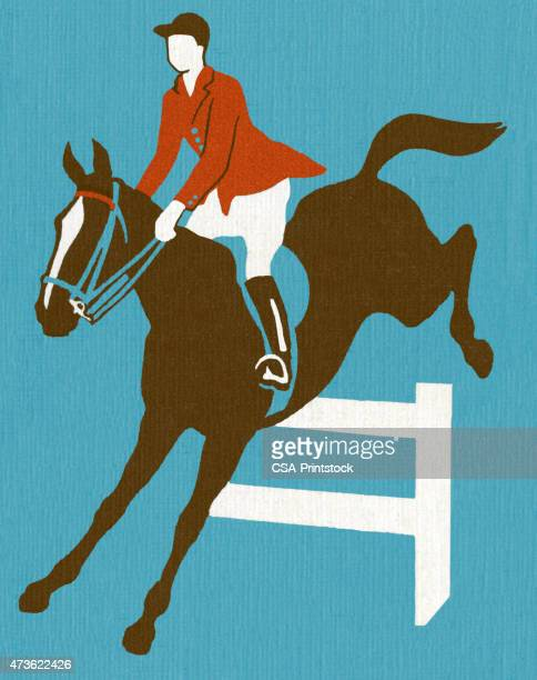 horse and rider jumping over fence - horse family stock illustrations, clip art, cartoons, & icons
