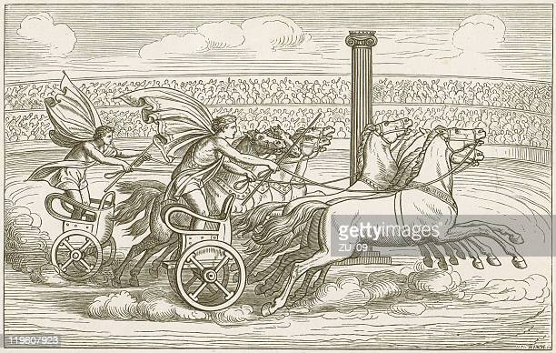 horse cart racing, ancient greece, vase painting, published in 1883 - ancient greece stock illustrations