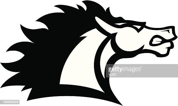 horse head mascot b&w - mustang wild horse stock illustrations, clip art, cartoons, & icons