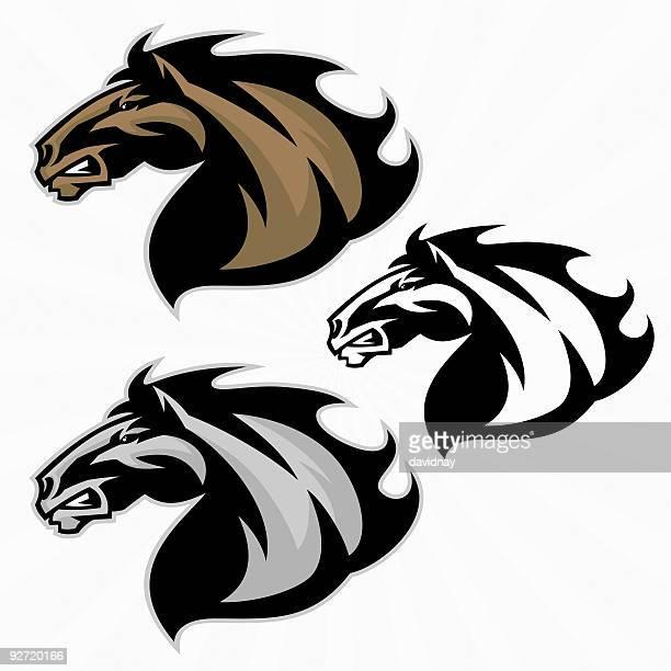 horse mascot - animal mane stock illustrations, clip art, cartoons, & icons