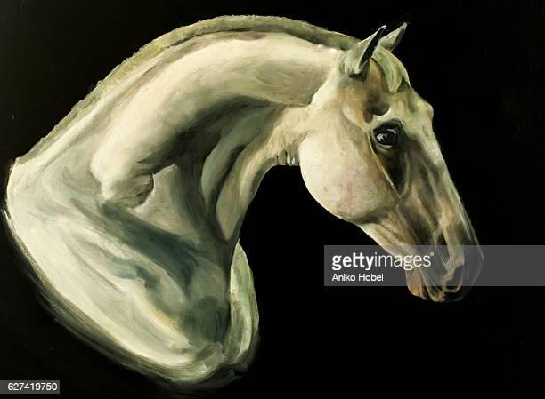 horse portrait painting - fine art portrait stock illustrations