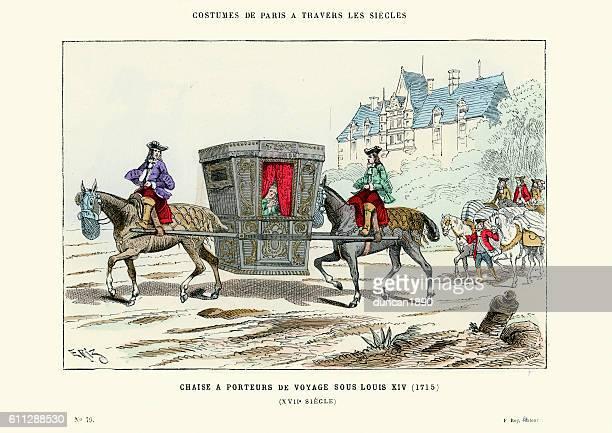 horse powered sedan chair or litter, france 1715 - sedan stock illustrations, clip art, cartoons, & icons