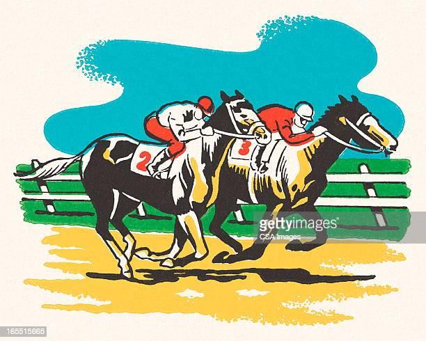 ilustrações, clipart, desenhos animados e ícones de corrida de cavalos - corrida de cavalos evento equestre