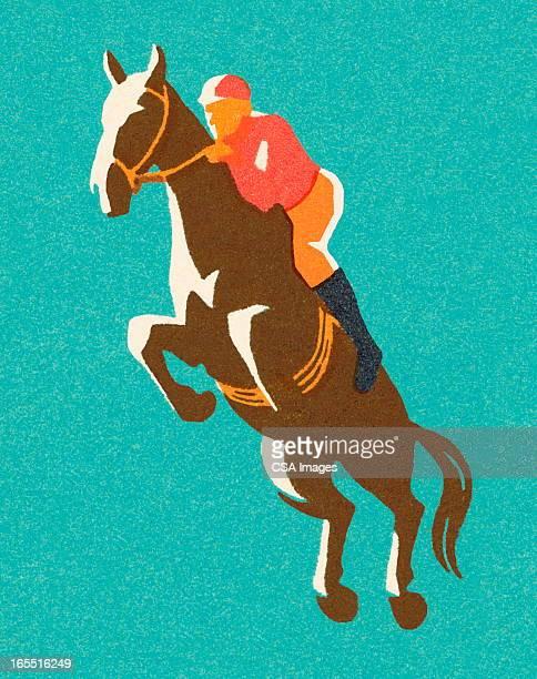stockillustraties, clipart, cartoons en iconen met horse racer - springen paardensport