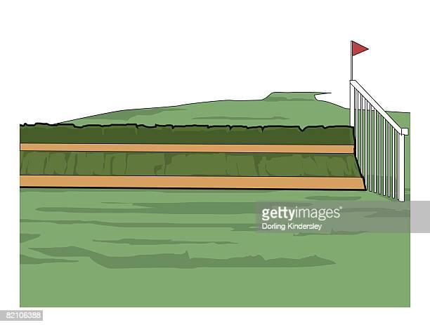 horse racing, chase jump, plain fence - hurdling horse racing stock illustrations