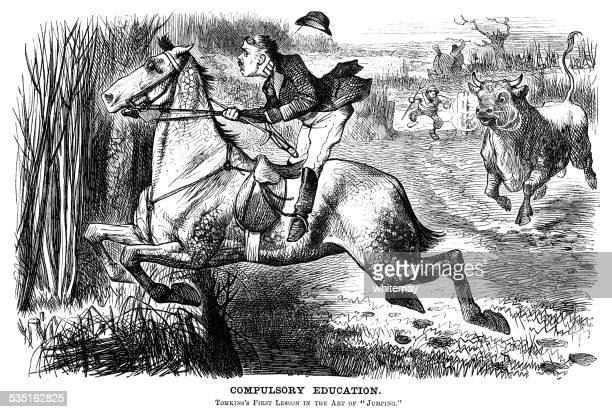 Horse riding man being chased by a bull