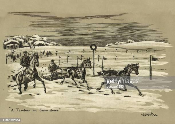stockillustraties, clipart, cartoons en iconen met paardenslee racen op sneeuw, victoriaanse sport, 19e eeuw - military
