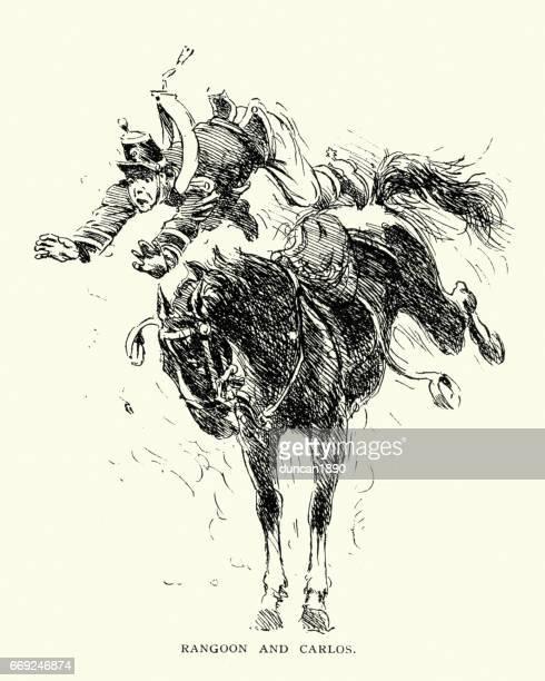 illustrations, cliparts, dessins animés et icônes de cheval de secouer son cavalier, xixe siècle - lance