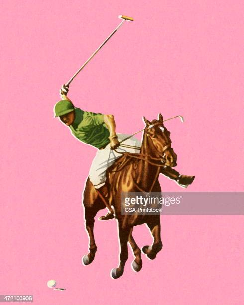 horseback man playing polo - polo stock illustrations