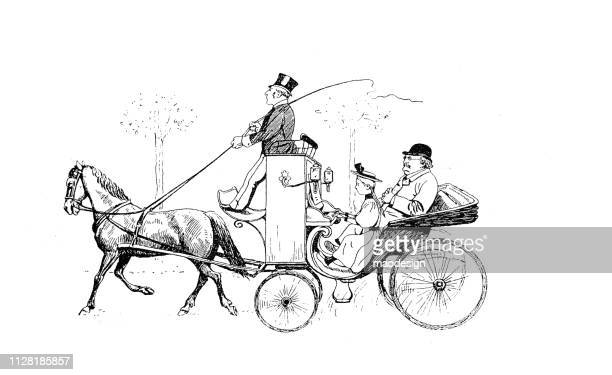 horse-drawn carriage ride - 1896 - carriage stock illustrations