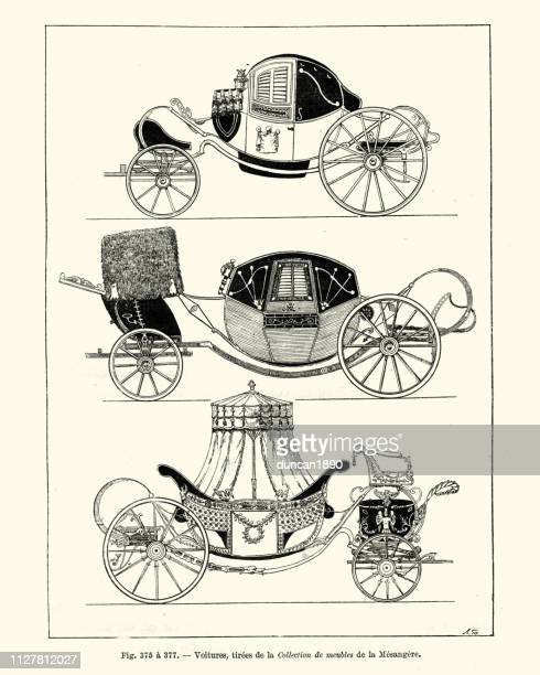 マサトランキャリッジ馬車、フランス語、18 世紀後半 - 四輪馬車点のイラスト素材/クリップアート素材/マンガ素材/アイコン素材