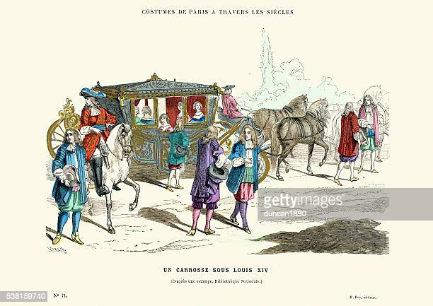 horsedrawn coach from the time of louis xiv - louis xiv of france stock illustrations, clip art, cartoons, & icons