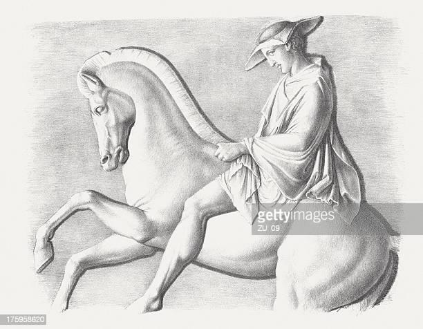 horseman, detail from parthenon-frieze, acropolis, athens, lithograph, published c.1830 - bas relief stock illustrations