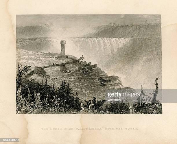 horseshoe falls, niagara, with the tower (geo virtue 1839) - lake ontario stock illustrations, clip art, cartoons, & icons