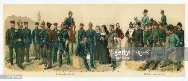hospital corpsmen of germany and austria army 1895 - uniform cap stock illustrations