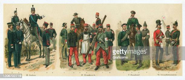 hospital corpsmen of italy france russia army 1895 - us military stock illustrations