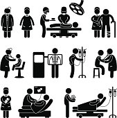 Hospital Doctor, Nurse and Patient Pictogram