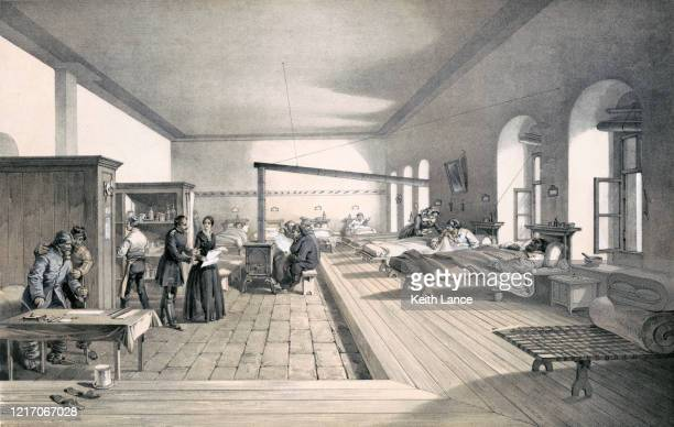 hospital ward during the crimean war - florence nightingale stock illustrations
