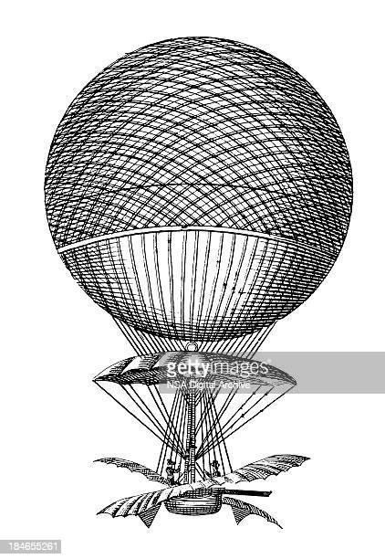 hot air balloon/frühen-geräte - erfindung stock-grafiken, -clipart, -cartoons und -symbole