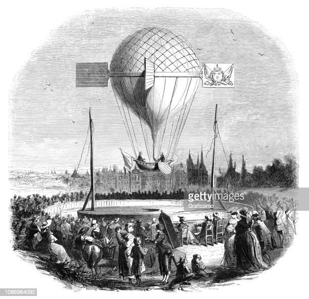 hot air balloon flying near dijon france on abril 1784 - dijon stock illustrations, clip art, cartoons, & icons