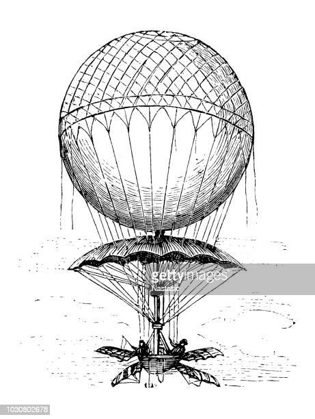 Hot air balloon hydrogen-filling with parachute of Jean-Pierre Blanchard, 1785