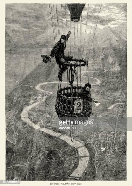 ロンドンの上を飛ぶ熱気球 - テムズ川点のイラスト素材/クリップアート素材/マンガ素材/アイコン素材