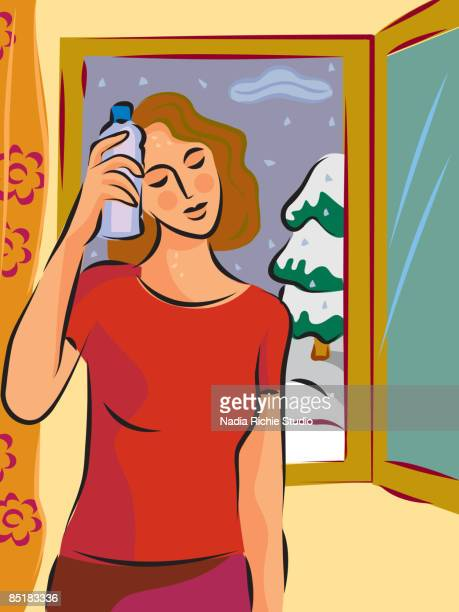 a hot and sweaty woman holding a cold bottle to her head in front of a window with snow outside - menopause stock illustrations, clip art, cartoons, & icons