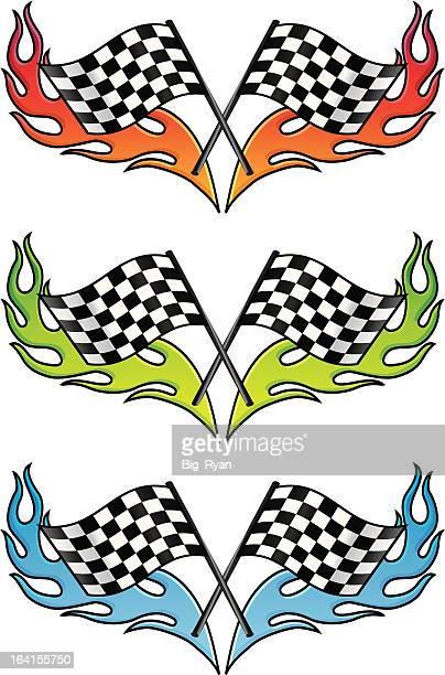 ilustraciones, imágenes clip art, dibujos animados e iconos de stock de hot bandera de cuadros - motocross