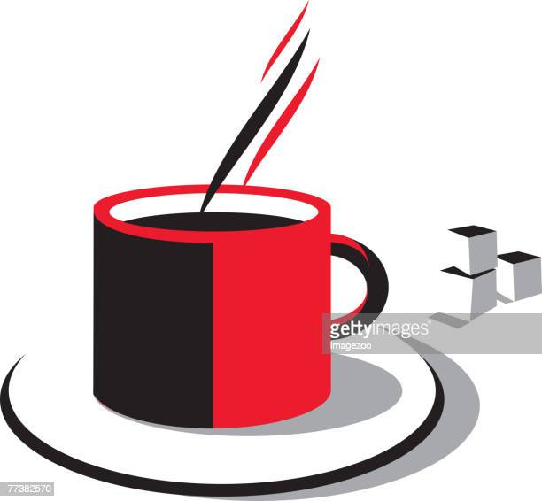 hot coffee and sugar cubes - sugar cube stock illustrations, clip art, cartoons, & icons