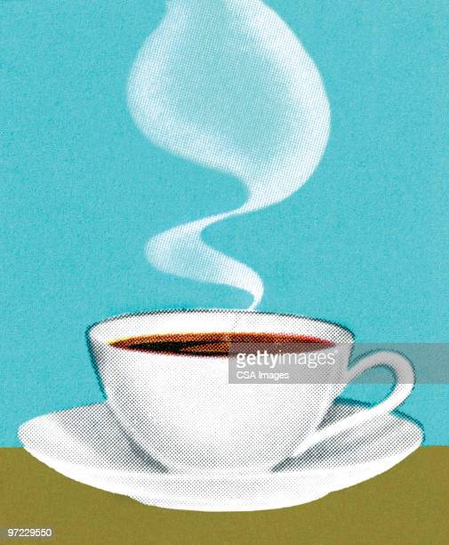 hot coffee - steam stock illustrations