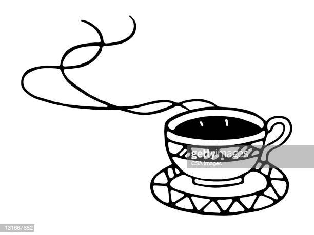 hot coffee or tea in cup - steam stock illustrations
