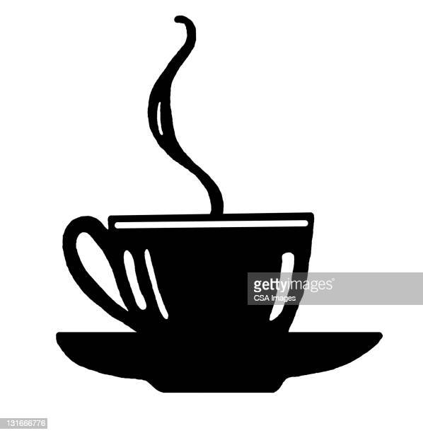 hot cup of tea or coffee - steam stock illustrations