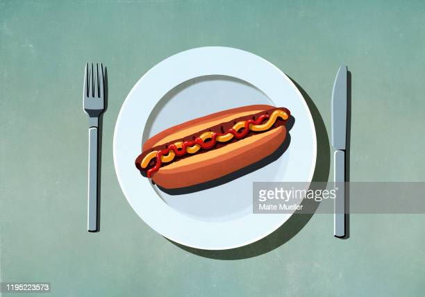 hot dog with ketchup and mustard on plate - {{ contactusnotification.cta }} stock illustrations