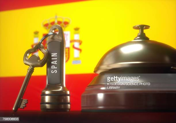 hotel key and bell with spanish flag, illustration - all european flags stock illustrations
