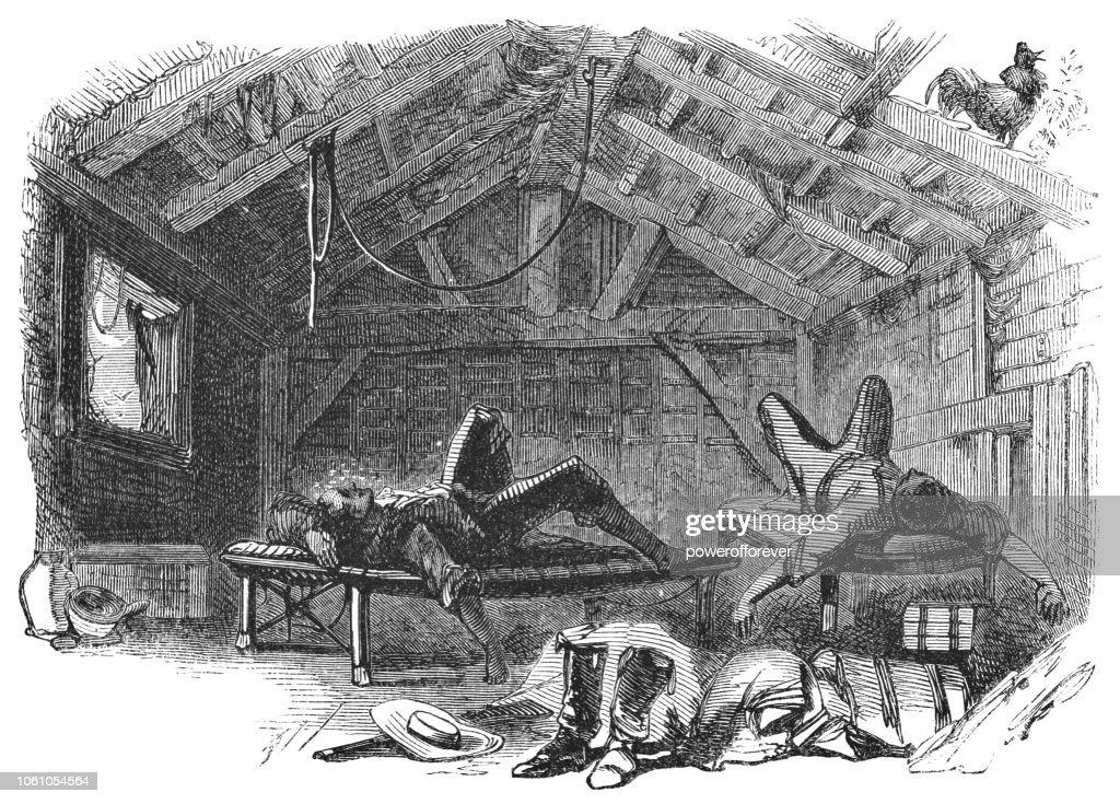 Hotel Room in Esparza, Costa Rica (19th Century) : stock illustration