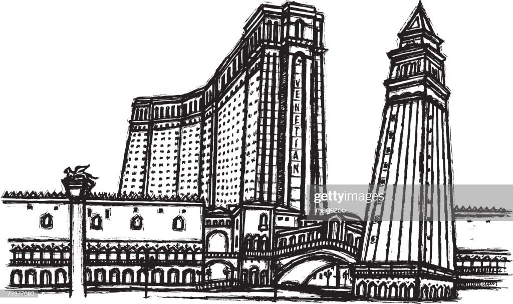 hotel tower b&w : Illustration