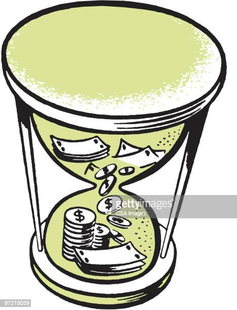 hourglass filled with money - hourglass stock illustrations