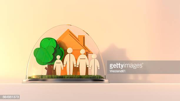 ilustraciones, imágenes clip art, dibujos animados e iconos de stock de house and family under glass dome, 3d rendering - figurine