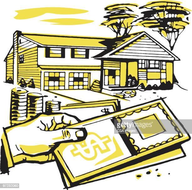 house and money - 証書点のイラスト素材/クリップアート素材/マンガ素材/アイコン素材