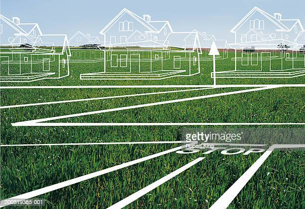 house and town plans on lawn (digital composite) - house exterior stock illustrations, clip art, cartoons, & icons