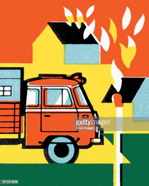 house fire with truck - demolished stock illustrations
