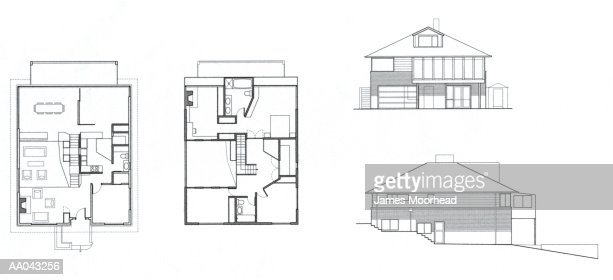 House Floor Plans And Drawings Of Exterior High-Res Vector ...