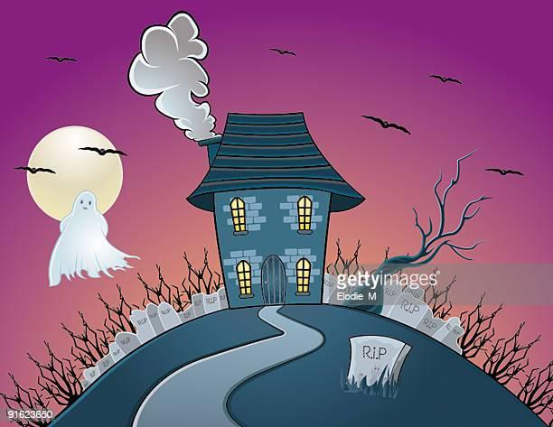 house haunted by ghost / maison hantée par un fantôme - maison stock illustrations, clip art, cartoons, & icons