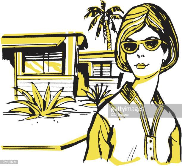 house - sunglasses stock illustrations