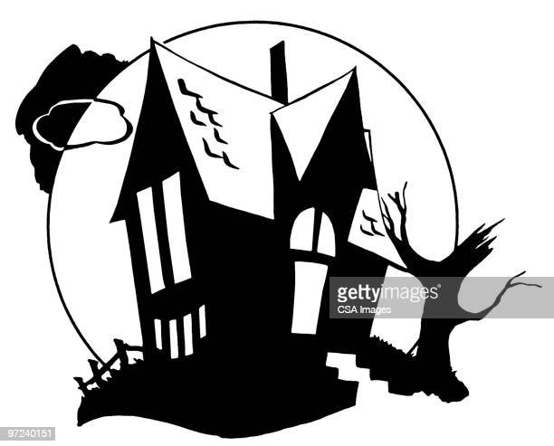 house - spooky stock illustrations